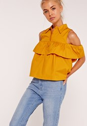 Missguided Frill Detail Bardot Shirt Yellow Yellow