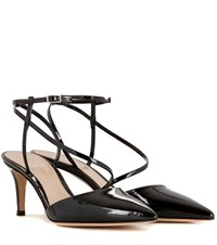 Gianvito Rossi Carlyle Mid Patent Leather Slingback Pumps Black