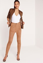 Missguided Faux Suede Biker Knee Leggings Tan Brown