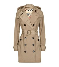 Burberry Balmoral Hooded Mid Length Trench Coat Female Taupe