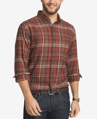 G.H. Bass And Co. Men's Big And Tall Plaid Flannel Long Sleeve Shirt Rhubarb