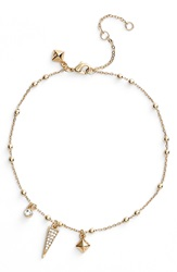 Rebecca Minkoff Charm Anklet Gold Crystal