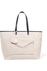 Clare V. Leather Trimmed Canvas Tote White