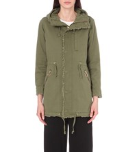 Izzue Raw Edge Cotton Parka Coat Khaki