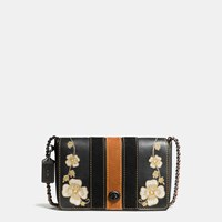 Coach Western Embroidery Dinky Crossbody 24 In Glovetanned Leather Black Copper Black