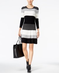Tommy Hilfiger Striped Sweater Dress Gray Stripe