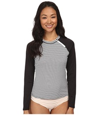 Soybu Rosalie Rash Guard Optic Stripe Women's Swimwear Gray