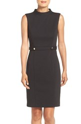 Ellen Tracy Women's Mock Neck Ponte Sheath Dress Black
