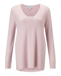 Jigsaw Slim Rib V Neck Jumper Rose