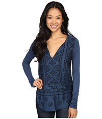 Lucky Brand Long Sleeve Embroidered Top Blue Women's Clothing