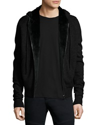 Yves Salomon Fur Lined Wool Cashmere Zip Front Knit Hoodie