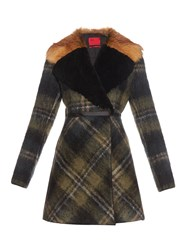 Moncler Gamme Rouge Shearling And Fur Collar Mohair Blend Coat