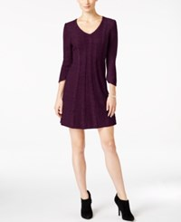 Ny Collection Petite Cable Knit Sweater Dress Berry