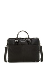 Cole Haan Pebble Leather Zip Top Briefcase Black