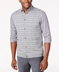 Tasso Elba Big And Tall Fairisle Argyle Sweater Vest Only At Macy's Silver Heather Combo