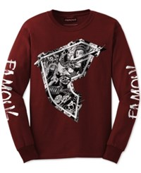 Famous Stars And Straps Men's Graphic Print T Shirt Burgundy