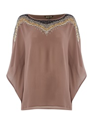 Biba Embellished Square Volume Blouse Taupe