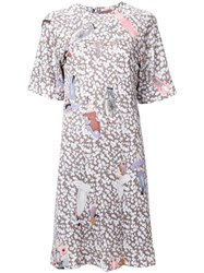 Theatre Products Multiple Prints T Shirt Dress Brown