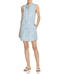 Prive Palm Tree Print Chambray Dress Light Chambray