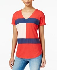 Tommy Hilfiger Flag Graphic T Shirt Racing Red