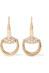 Gucci 18 Karat Gold Diamond Horsebit Earrings