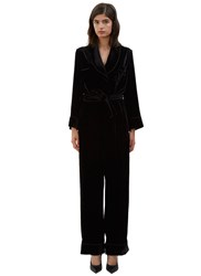 Fendi Wide Leg Velvet Jumpsuit Black