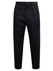 Marni Single Pleat Wool Twill Trousers Navy