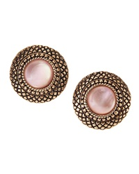 Stephen Dweck Natural Quartz And Pink Mother Of Pearl Button Earrings