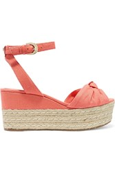 Michael Michael Kors Maxwell Canvas Espadrille Wedge Sandals Coral