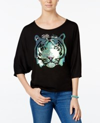 Miss Chievous Juniors' Sequined Tiger Dolman Sleeve T Shirt Black
