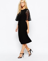 Oasis Lace Kimono Sleeve Detail Dress Black