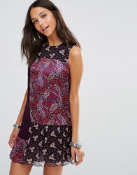 Anna Sui Flourish Print Dress Plum Multi Purple