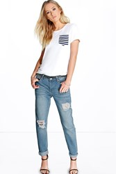 Boohoo Low Rise Mom Jeans Light Wash Blue
