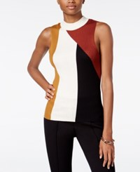 Bar Iii Colorblocked Mock Turtleneck Top Only At Macy's Cafe Spice Combo