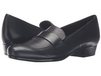 Munro American Kiera Black Leather Lizard Women's Slip On Dress Shoes