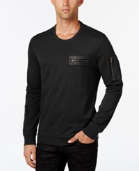 Inc International Concepts Men's Stencil Faux Leather Pocket Sweatshirt Only At Macy's Deep Black