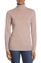 Women's Nordstrom Collection Cashmere Turtleneck Sweater Tan Dune Heather