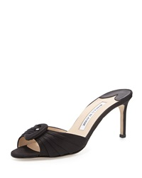 Manolo Blahnik Stara Satin Buckle Slide Black