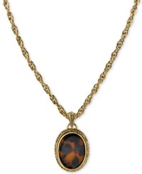 2028 Gold Tone Tortoiseshell Look Framed Pendant Necklace