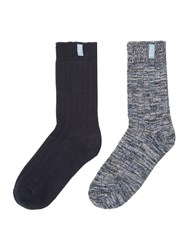 Elle Chunky Ribbed Boot Sock 2 Pack Navy