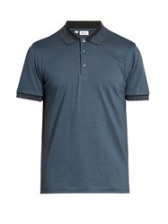 Brioni Short Sleeved Wool And Cashmere Blend Polo Shirt Blue