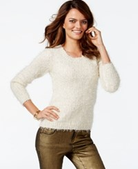 Inc International Concepts Crew Neck Eyelash Sweater Only At Macy's Washed White