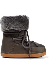 Inuikii Shearling Lined Suede And Leather Boots Charcoal