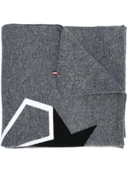 Moncler 'Star' Pattern Scarf Grey