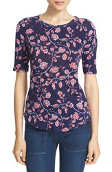 Rebecca Taylor Women's 'Kyoto Floral' Print Linen Knit Tee