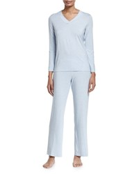 Hanro Champagne Pajama Set Ashley Blue