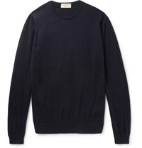 John Smedley Medley Norland Cahmere And Ilk Blend Weater Navy