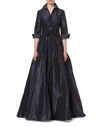 Carolina Herrera 3 4 Sleeve Crisscross Waist Trench Gown Navy