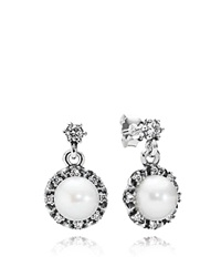 Pandora Design Pandora Drop Earrings Cultured Freshwater Pearl Sterling Silver And Cubic Zirconia Everlasting Grace