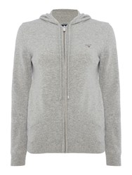 Gant Superfine Knit Zip Hoodie Grey